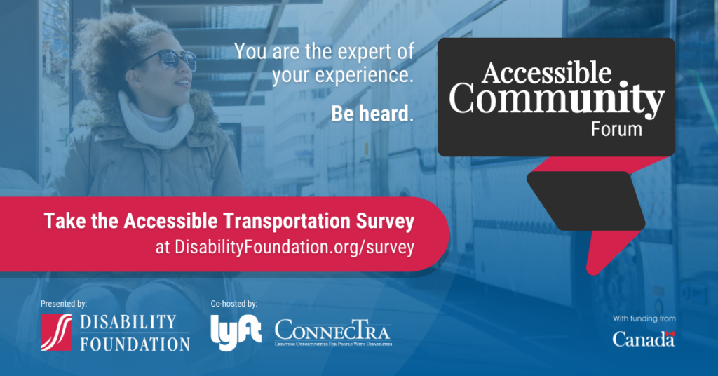 Woman using a wheelchair waiting at a transit station. (You are the expert of your experience. Be heard. Take the Accessible Transportation Survey at disabilityFoundation.org.)