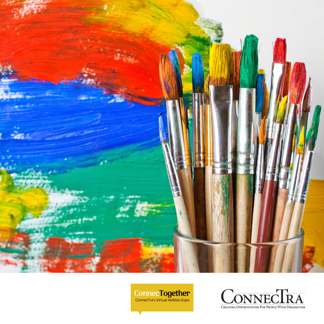 Paintbrushes in cup in front of a colorful painted streaks. (ConnecTogether Logo. ConnecTra Society Logo.).